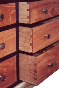 detail of the open drawers